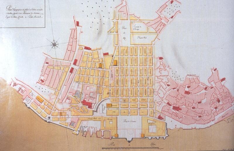 Planta Topographica da Cidade de Lisboa arruinada, e também segundo o novo alinhamento dos architétos Eugénio dos Santos, e Carvalho, e Carlos Mardel